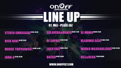 Published schedule performances DJs at promo party On/Off Festival