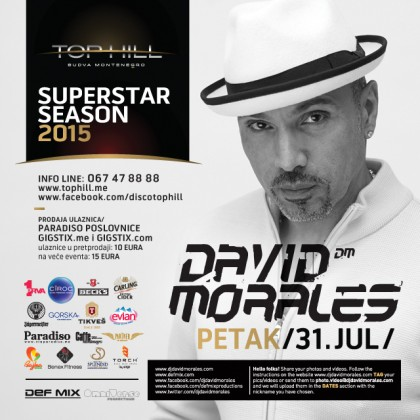 David Morales in Top Hil,  tickets to give away